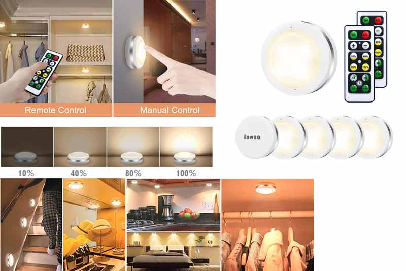 Pack de 6 luces LED para armario con 2 mandos