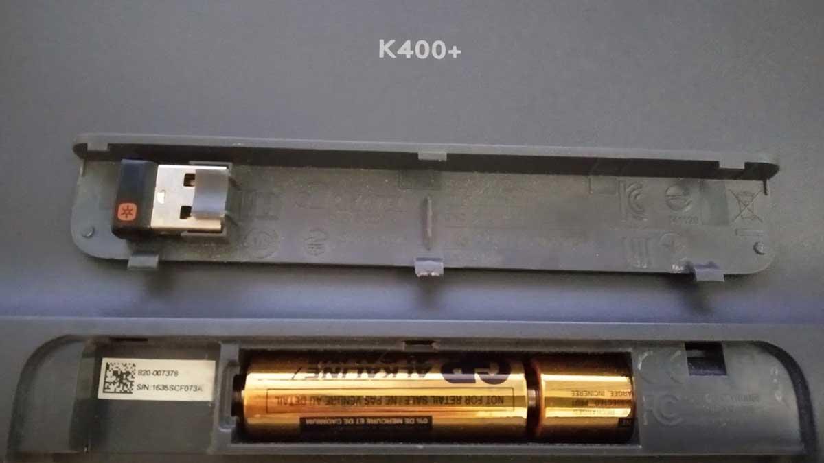 logitech k400 plus pilas